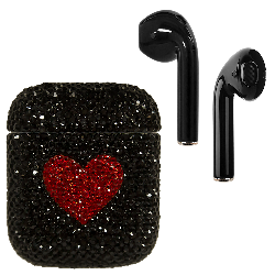 Crystal AirPods Black Red Heart