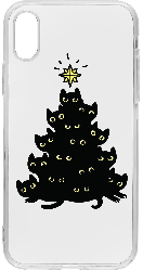 iPhone XS Clear Case Matte Meowy Christmas